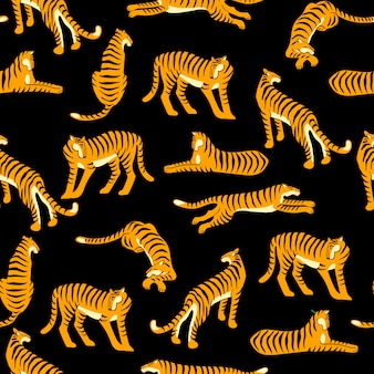 Nahtloses exotisches muster mit tiger.