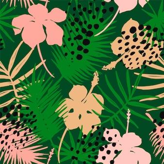 Nahtloses exotisches muster mit tropischen pflanzen.
