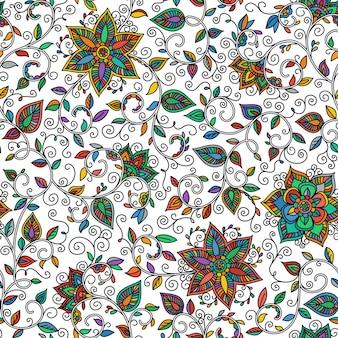 Nahtloses farbmuster von spiralen, strudeln, kritzeleien und blumen