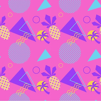 Nahtloses farbsommermuster mit ananas und palme