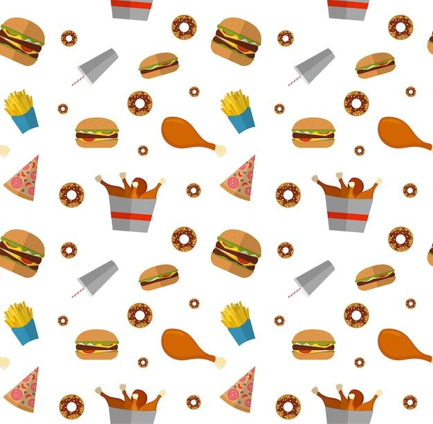Nahtloses fast-food-muster mit hamburger, cheeseburger, brathähnchen, pommes frites, pizza, donut.