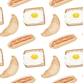 Nahtloses fast-food-muster zum frühstück oder mittagessen