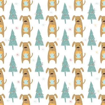 Nahtloses feiertagsmuster mit hund und geschenken