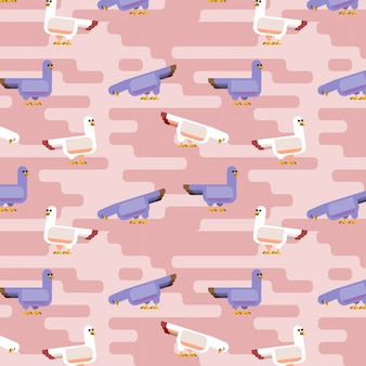 Nahtloses flaches taubenmusterdesign