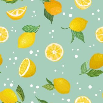 Nahtloses fruchtmuster mit zitronen, blättern, blumenhintergrund. handgezeichnete vektorillustration im aquarellstil