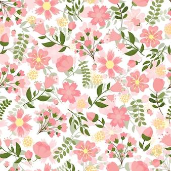 Nahtloses frühlingsblumen mit einem dichten muster der hübschen rosa blüte und der blumen mit grünen blättern im quadratischen format, geeignet für tapeten- und textilvektorillustration