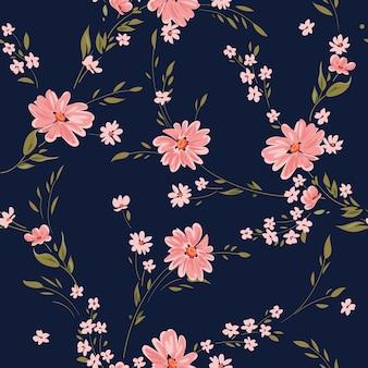 Nahtloses frühlingsblumenmuster mit gänseblümchen