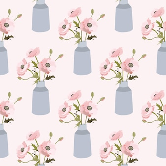 Nahtloses frühlingsmuster mit blumen in der vase