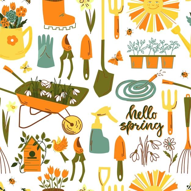 Nahtloses frühlingsmuster mit gartenwerkzeugen, blumen, vögeln, schmetterlingen. vektor-illustration.