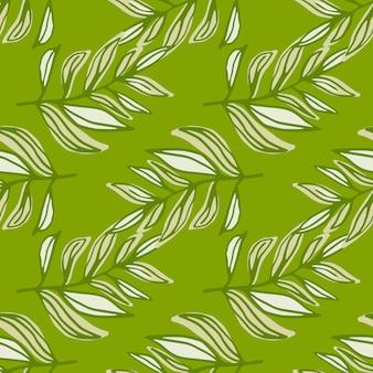 Nahtloses frühlingsmuster mit konturierten laubbrunchs in grüntönen. stilisierter blumendruck.