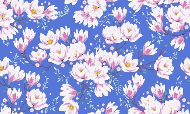 Nahtloses frühlingsmuster mit magnolien. stoffdesign für elegantes sommerkleid