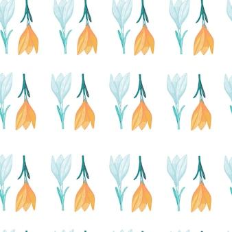Nahtloses frühlingsmuster mit orange und blauen krokusblüten