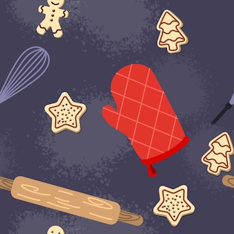 Nahtloses gebackenes süßes lebensmittelmuster für backmeisterklasse