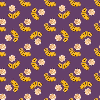 Nahtloses gekritzelmuster der abstrakten formen. helles design mit gelben kreisen und kritzelfiguren auf lila hintergrund.