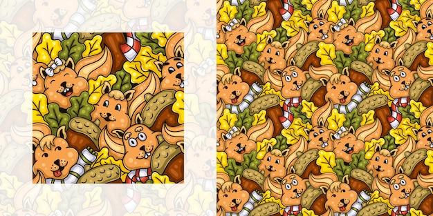 Nahtloses gekritzelmuster des herbstes von eichhörnchen mit eicheln