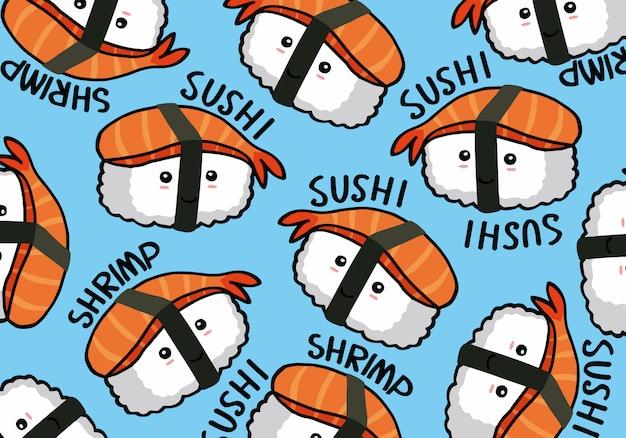 Nahtloses gekritzelmuster des onigiri und der sushi
