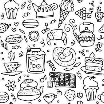 Nahtloses gekritzelmuster des tees und der bonbons. umreißen sie hand gezeichnete illustration über kaffee- oder teezeitkaffee, tee, kleiner kuchen, schalen, süßigkeit, lutscher