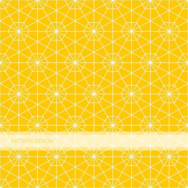 Nahtloses geometrisches gelbes hexagon des hintergrundmusters islamische abstrakte und weiße linie vecto