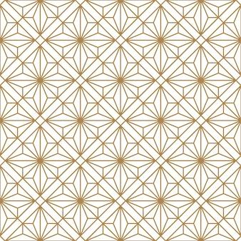 Nahtloses geometrisches muster in gold und weiß. kumiko im japanischen stil.