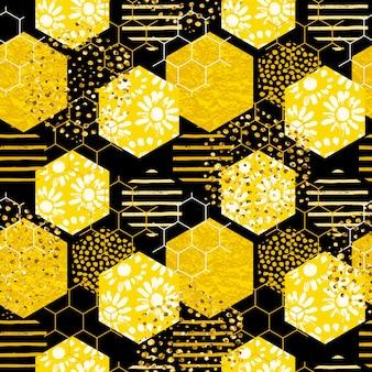 Nahtloses geometrisches muster mit biene. moderner abstrakter honigentwurf.