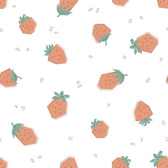 Nahtloses geometrisches muster mit erdbeere in pastellfarben. weißer hintergrund mit frischen beeren. flache illustration für kinder von kleidung, textilien, tapeten. vektor