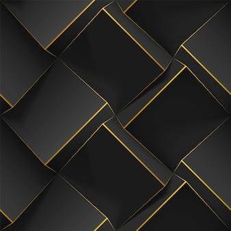 Nahtloses geometrisches muster mit realistischen würfeln, goldenen linien. vorlage mit 3d-bump-textur