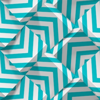 Nahtloses geometrisches muster. realistische würfel aus weißem papier mit streifen. vorlage für tapeten, textilien, stoff, geschenkpapier, hintergründe. abstrakte textur mit volumenextrudiereffekt.