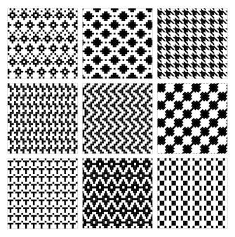 Nahtloses geometrisches muster sammlung der modernen stilvollen verzierten abstrakten schwarzen weißen texturgeometrie