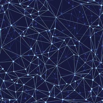 Nahtloses geometrisches netz des abstrakten musters des vektors auf einem dunklen hintergrund