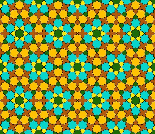 Nahtloses geometrisches ornament basierend auf traditioneller islamischer kunst. grüne, braune, orange und gelbe farben.