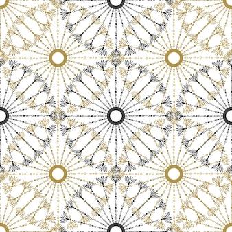 Nahtloses geometrisches weinlesemuster. vektorschwarzes und gold kreisen retro- beschaffenheit auf.