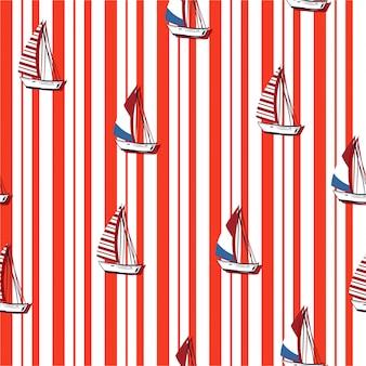 Nahtloses gestreiftes muster von segelbooten
