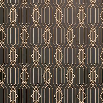 Nahtloses goldenes geometrisches muster auf grauem hintergrund