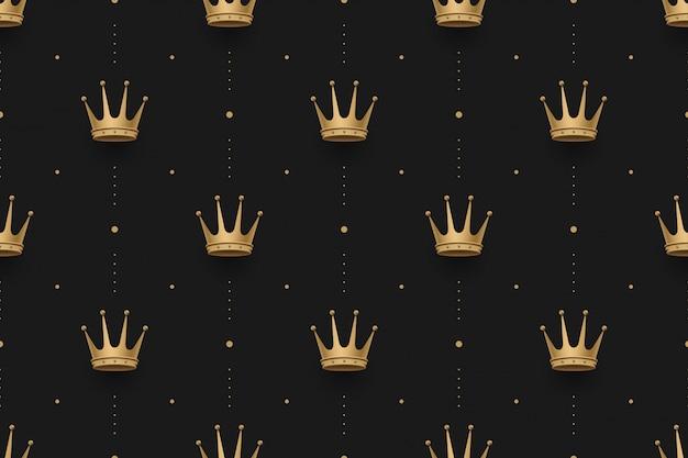 Nahtloses goldmuster mit königkronen auf einem design des dunklen schwarzen