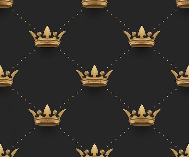 Nahtloses goldmuster mit königskronen auf einem dunklen schwarzen hintergrund. illustration.