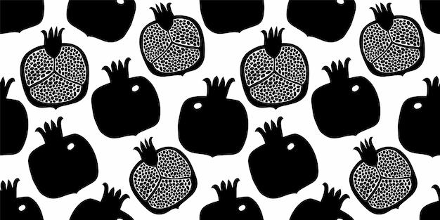 Nahtloses granatapfelmuster. hand gezeichnete fruchtillustration.