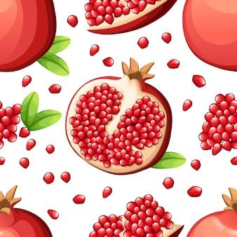 Nahtloses granatapfelmuster und frische granatapfelkerne. illustration des geöffneten granatapfels. illustration für dekoratives plakat, emblem-naturprodukt, bauernmarkt