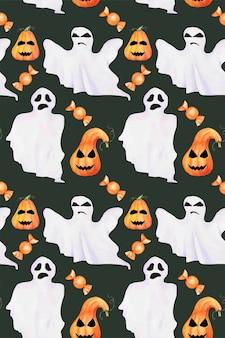 Nahtloses halloween-hand gezeichnetes aquarellmuster. horrorgeister, kürbisse mit gesicht und süßigkeiten