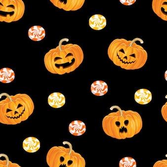 Nahtloses halloween-muster mit gruseligen kürbissen und süßen bonbons