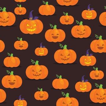 Nahtloses halloween-muster mit kürbisen