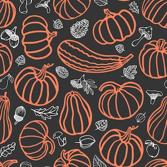Nahtloses halloween-muster mit kürbissen pilzen blätter kegel birnen äpfel beeren vektor