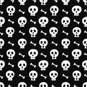 Nahtloses halloween-muster mit schädel und knochen auf schwarzem hintergrund.