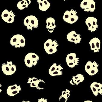 Nahtloses halloween-muster mit totenköpfen. vektorillustration, lokalisiert auf schwarzem hintergrund.