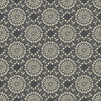 Nahtloses handgezeichnetes mandalamuster. vintage elemente im orientalischen stil mit grunge-effekt.