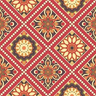 Nahtloses handgezeichnetes mandalamuster. vintage orientalischer stil.