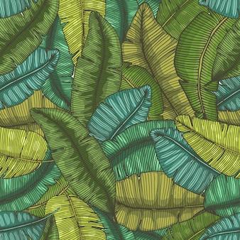 Nahtloses handgezeichnetes muster mit botanischer illustration der tropischen textur der bananenblätter