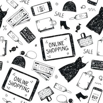 Nahtloses handgezeichnetes muster. online-shopping-doodle-hintergrund
