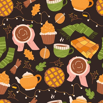 Nahtloses herbstmuster mit cupcake, teetasse, teekanne, schal und decke