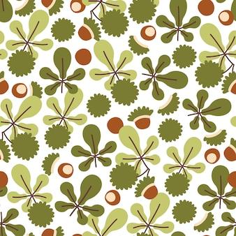 Nahtloses herbstmuster mit kastanienblättern und rosskastanienfrüchten
