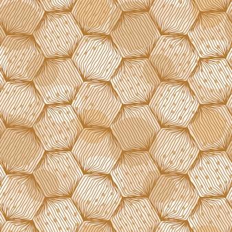 Nahtloses hexagonmuster mit hand gezeichneten linien und stellen